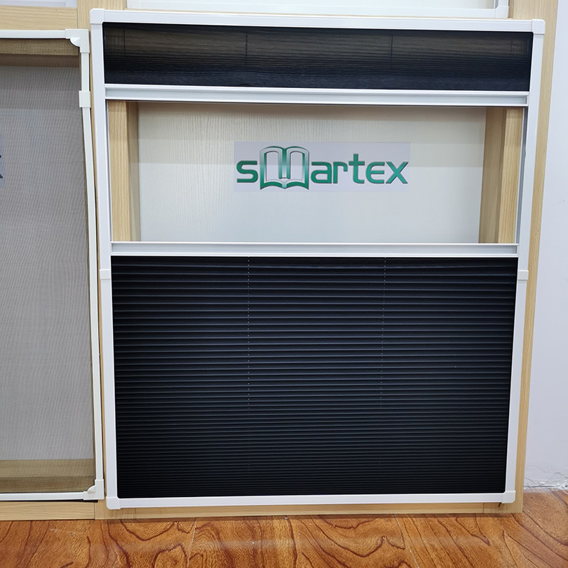 Retractable and easy installation 100% polyester pleated insect screen window with mosquito net