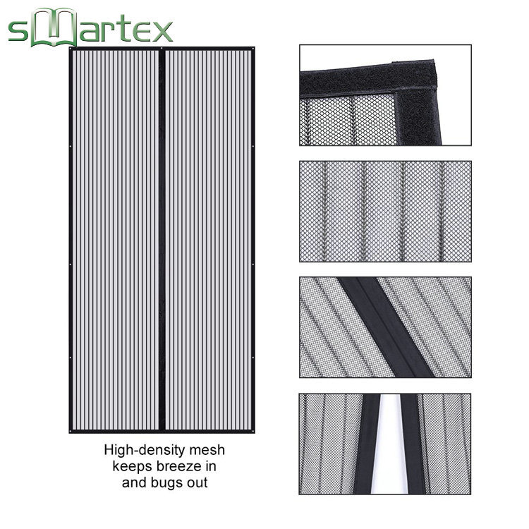 Top quality easy install polyester magnetic door net curtains for anti mosquito