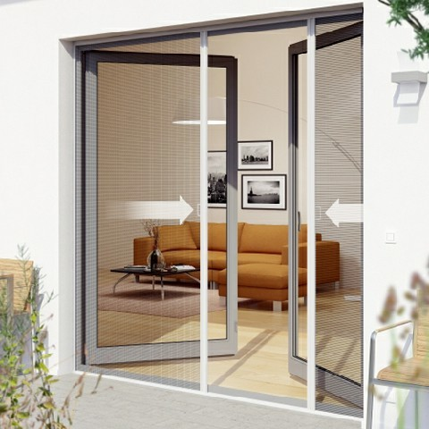 No Wrinkle Retractable Mosquito Screens Door For French Single And Double Door