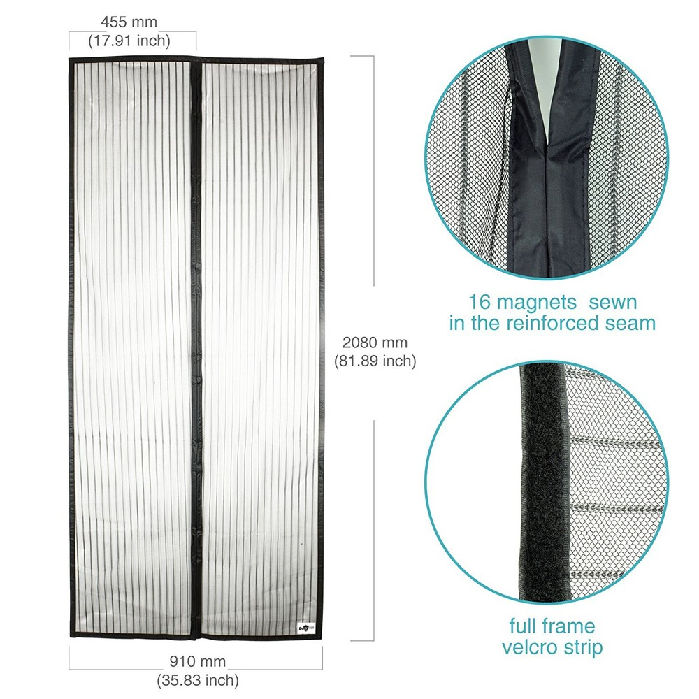 Polyester magnetic mosquito curtains net 90 x 210cm in black with magnetic closure